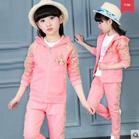 Autumn Girls Sequin Bow Cloth Set Full Sleeve 3pcs Kids Suit Coat + T shirt + Pants Daily Tracksuit 5 12 Years Hip Hop Clothing