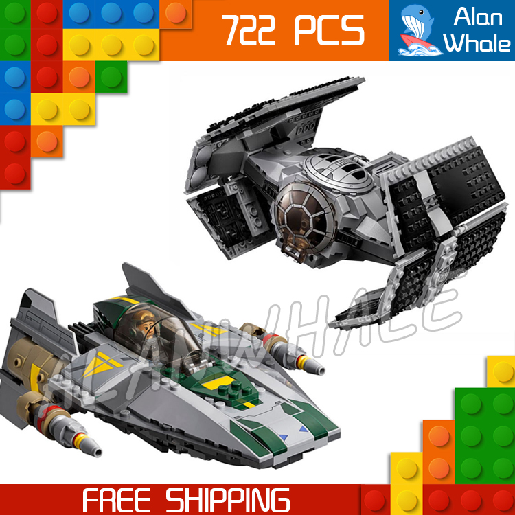 722pcs Space Wars 05030 Vader's TIE Advanced vs. A-Wing Starfighter Model Building Blocks Toys Bricks Compatible with Lego toys in space