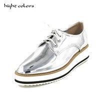 New mulheres asas do vintage Oxford Lace Up preto sliver branco cinza Metálico Listrado sapatos de plataforma das mulheres planas oxford Do Vintage EUA 9