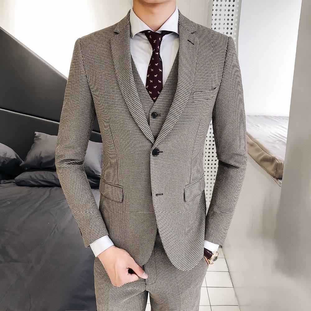De Gilets tops Trois Coréenne Mode Costume Hommes L'auto Personnalisé Gamme Version La Pièce kaki Nouveau Treillis Gris culture blanc Pantalon Haut q5q4wWAt
