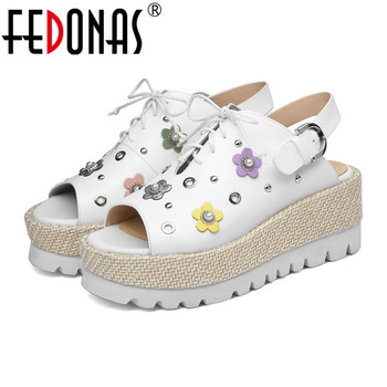 FEDONAS New Brand Design Women Sandals Comcortable Casual Flats Shoes Genuine Leather Flowers Shoes Woman Elegant Flats Sandals