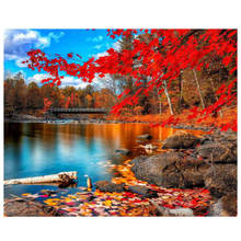 WONZOM Maple Lake DIY Painting By Numbers Scenery Canvas Home Decor Handpainted Wall Art Picture Wedding Decoration