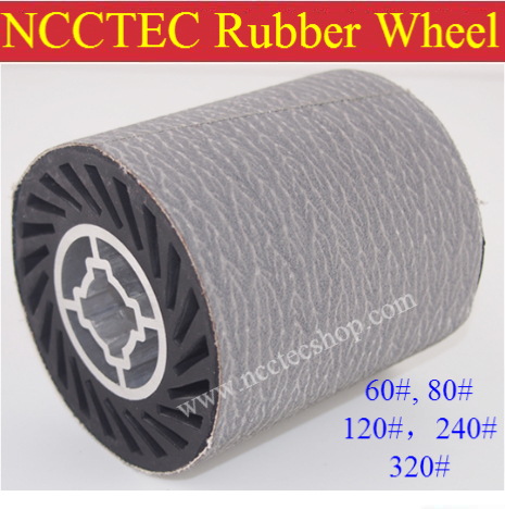 grit 120 NCCTEC Stainless steel wire drawing RUBBER wheel brush with aluminum core | install 1 pcs of white sand sanding belt