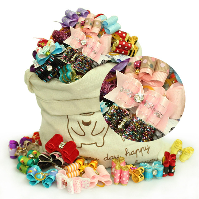 Special Sales!! Handmade Dog Grooming Bows Hair Accessories Pet Show Products For Puppy SPA Gifts 40%OFF!! Free Shipping