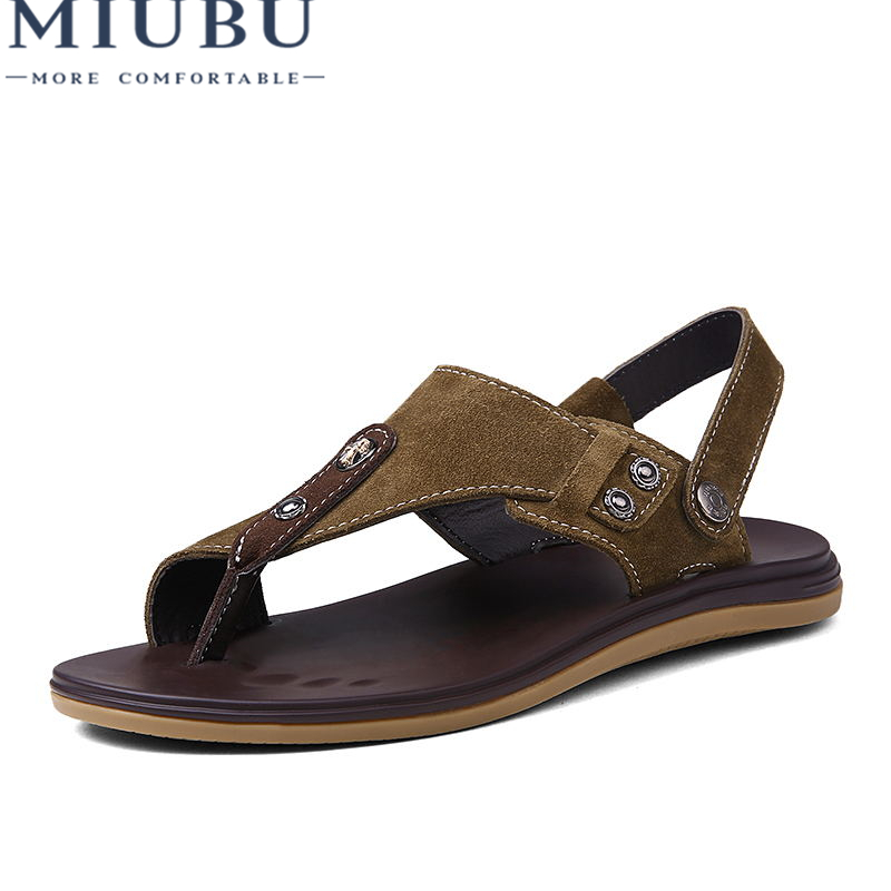 MIUBU 2018 Men Fashion Sandals Summer Mens Slippers Genuine Leather Shoes Beach Casual Breathable Flip-Flops Zapatos 38-46