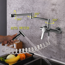 SKOWLL Wall Mount Polished Rotation Kitchen Faucet with Bidet Sprayer 360 Swivel Single Handle Tap