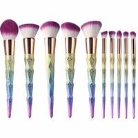 10Pcs Professional Colorful Makeup Brush Set Rainbow Handle Makeup Brush Cosmetics Blusher Powder Blending Smooth Unicorn