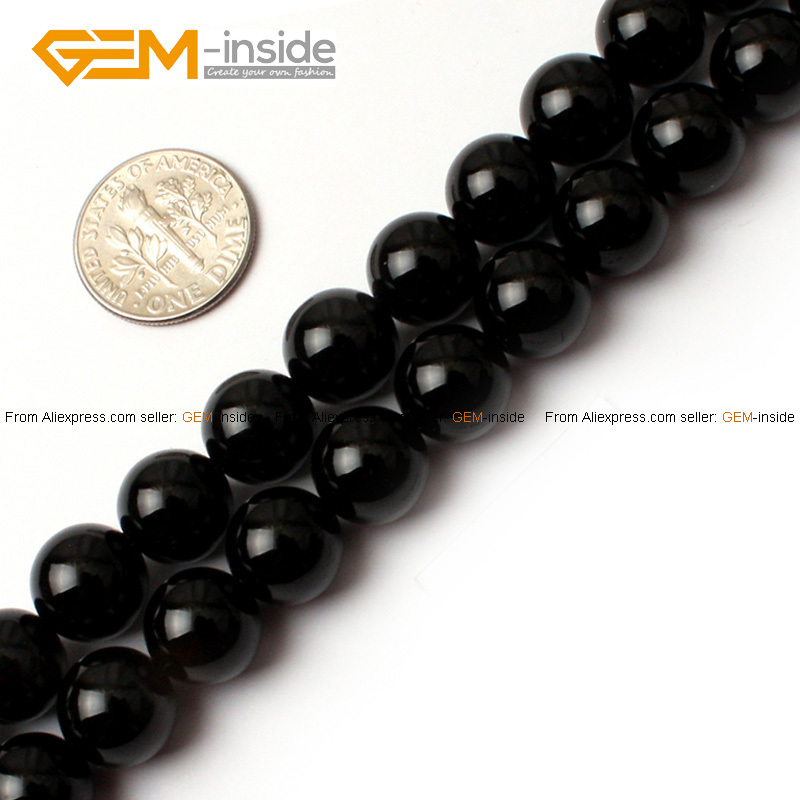 Gem-inside Natural Round Tiny Small Spacer Seed Black Agates Stone Beads For Jewelry Making DIY Jewellery 4-16mm 15inches