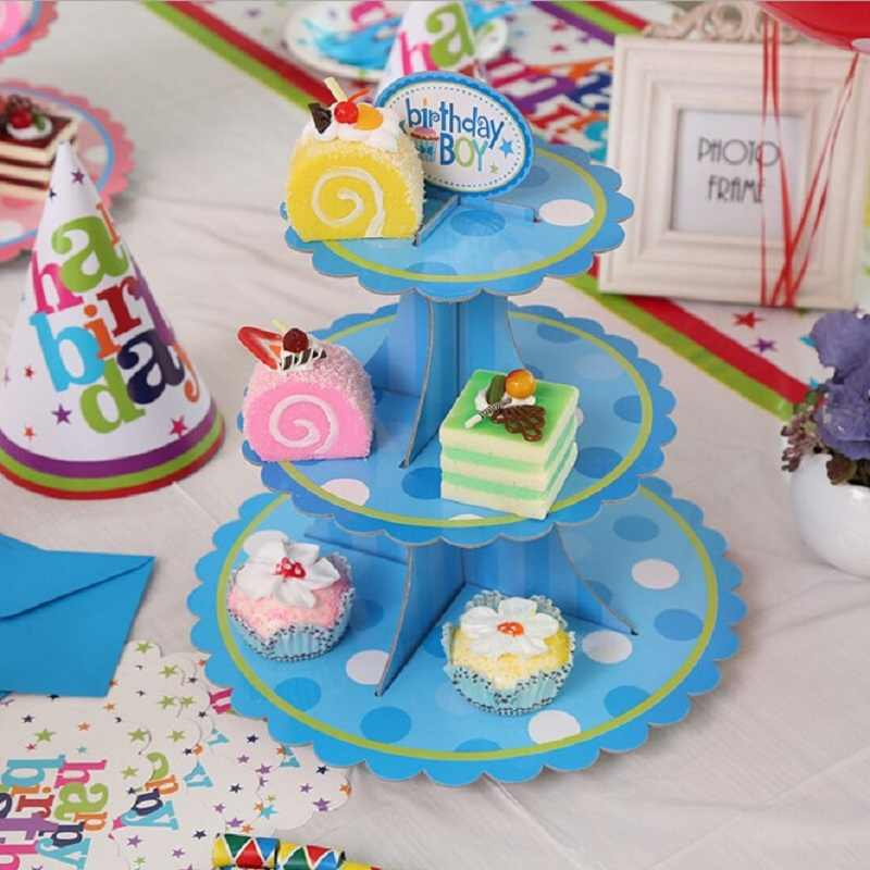 Hoomall 3-ярусный торт стенд и Фруктовая тарелка круглое пирожное-Корзиночка картонная Подставка для свадьбы для домашней вечеринки на день рождения инструменты для украшения торта