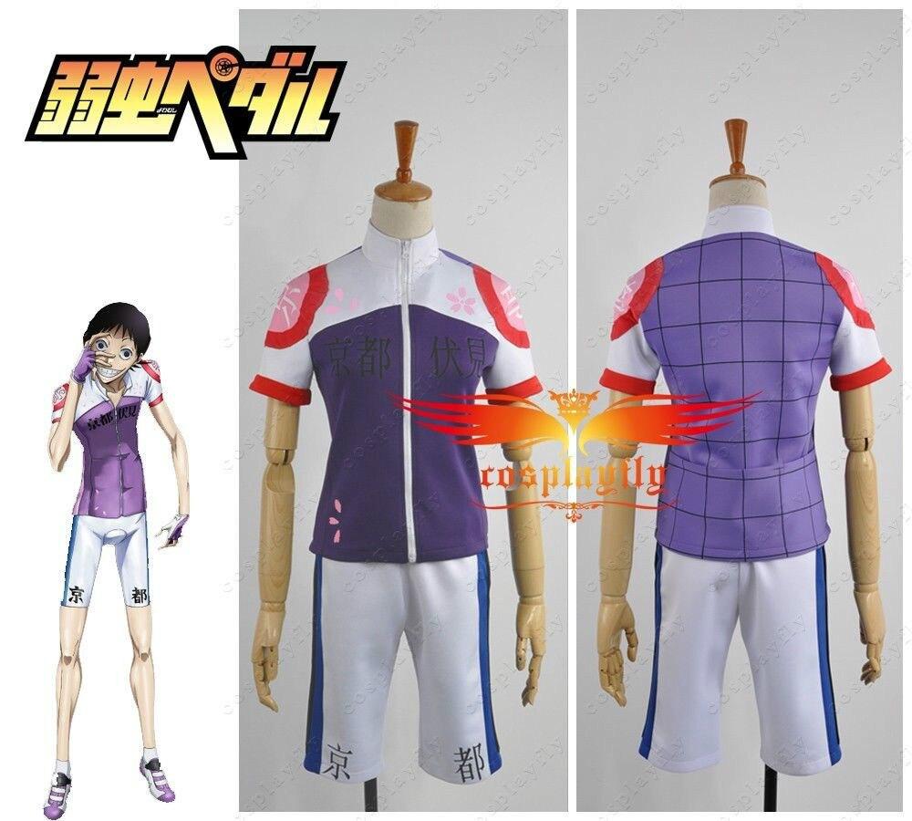 Yowamushi Pedal Kyoto Fushimi Members Akira Climber Race Suit Cosplay Costume Custom Made Purple Plaid Sportwear