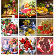 full diamond embroidery fruit, 5d, apple basket, painting cross stitch