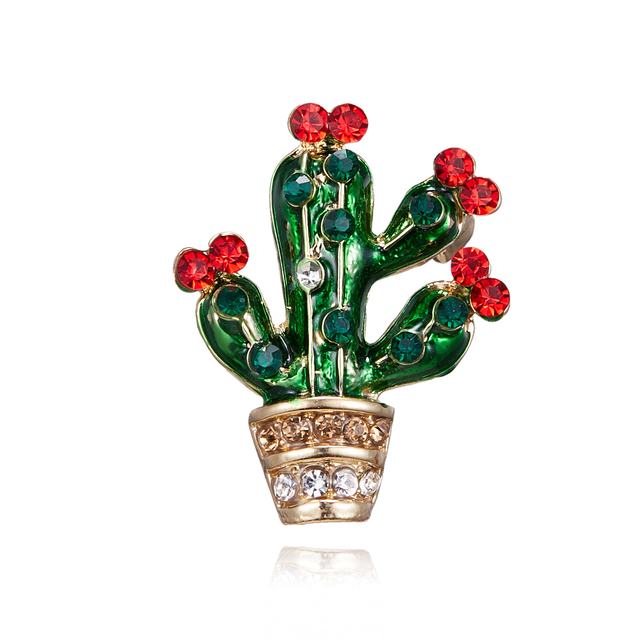 Rhinestone Cactus Enamel Brooch