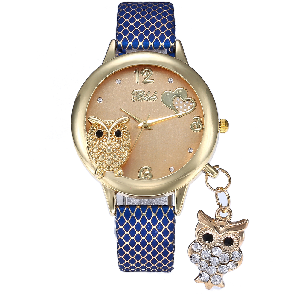 2019 New Fashion Wrist Watches Lady Owl Charm Diamond Watch Women Snakeskin PU Gold Buckle Clock Rhinestone Watch For Women