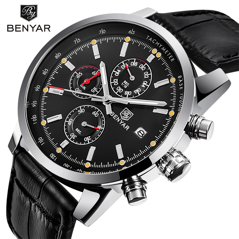 BENYAR Fashion Chronograph Sport Mens Watches Top Brand Luxury Quartz Watch Reloj Hombre 2018 Clock Male hour relogio Masculino olevs fashion mens sport watches auto date rose gold leather quartz watch reloj hombre 2017 male clock hour relogio masculino