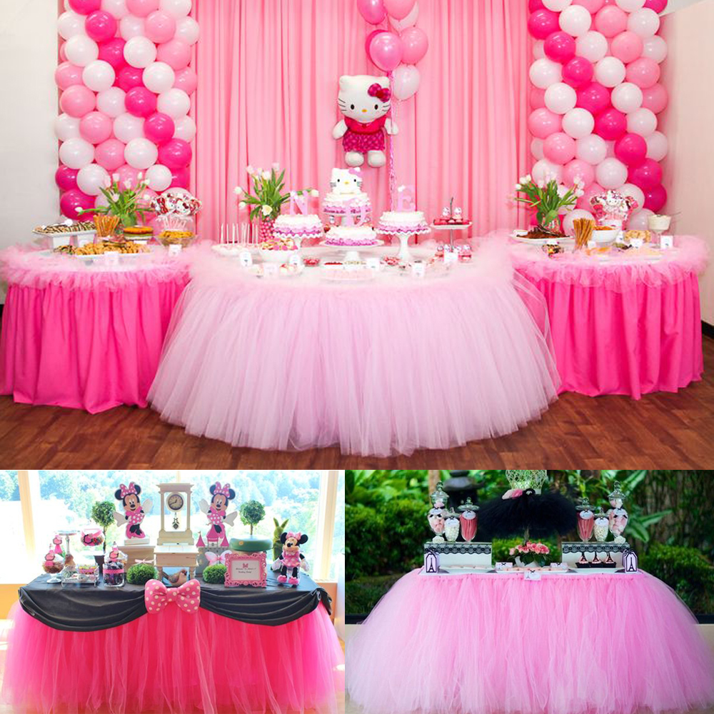 Baby Shower Table Decorations 100*80CM Tulle Table Skirt Wedding ...