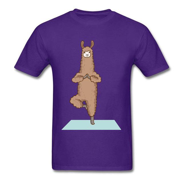 Alpaca Llama Physical Exercise OM Tshirts Buddhist Meditation Funny Goat Funny Design Creative T Shirt For Men Grey Custom