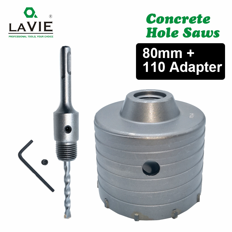 80mm Wall Hole Saw Core Drill Bit With 110mm Rod Flat Shank For Cement Bricks
