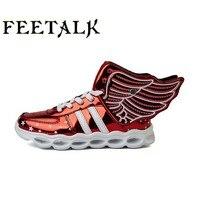 Ücretsiz Hediye 2017 Yeni Kız Aydınlık LED Işık Ayakkabı Melek kanatları Bebek Boys Ayakkabı Çocuk Sneakers ücretsiz nakliye koşu Led #0311