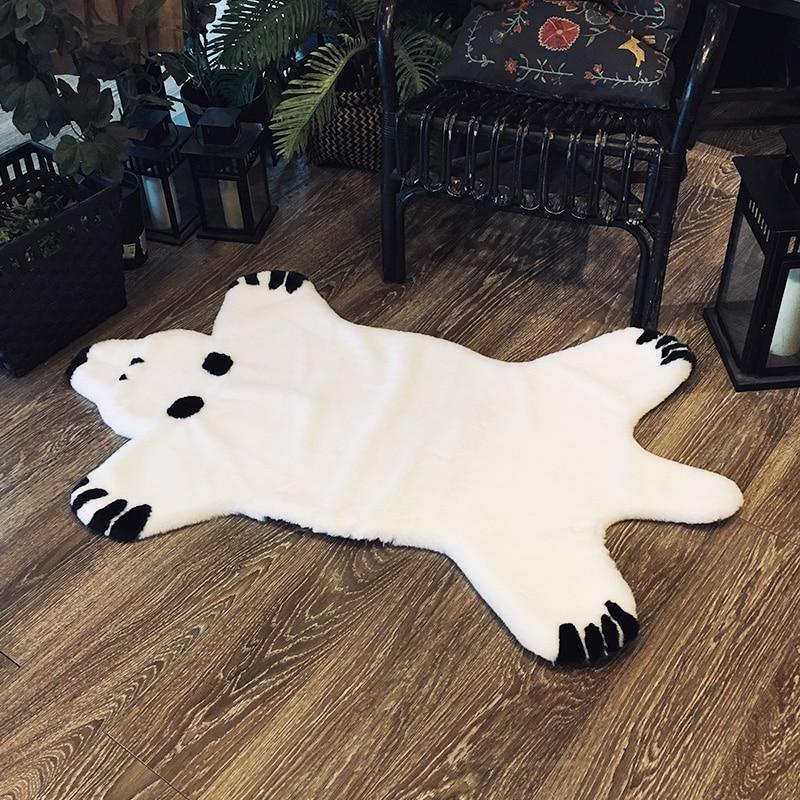 ROWNFUR tapis fausse fourrure tapis blanc ours pour maison salon enfants chambre enfants nordique doux lavable sol grand tapis