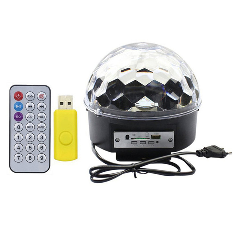 Trecaan Music Crystal Magic Ball Led Stage Lamp With Remote Voice Control 6 Colors LED Stage Laser Light Disco DJ Party Light mini rgb led party disco club dj light crystal magic ball effect stage lighting