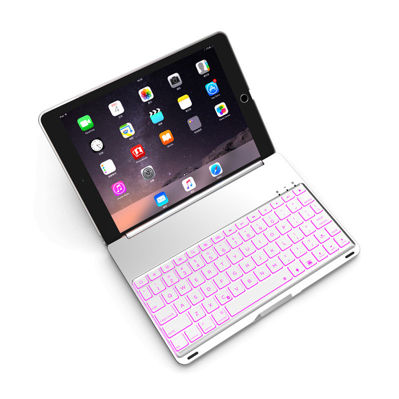 Luxury Tablet Case for iPad 6/Air2 Smart Flip Cover Stand 7 Colors Backlit Light Aluminum Bluetooth Keyboard Case for iPad Air 2