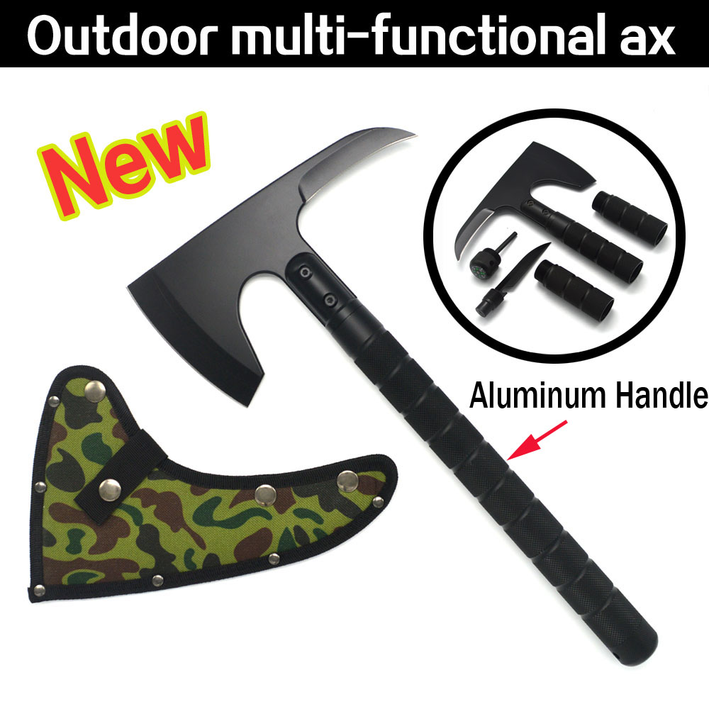 New Outdoor Camping Axe Aluminum Handle Tomahawk Fire Rescue Survival Multifunctional floding Axe wild camping tactical axe forest axe tomahawk for engineer fire camping mountain axe