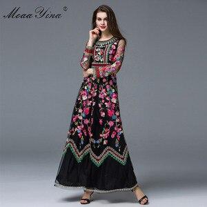 Image 3 - MoaaYina Fashion designerska sukienka wiosna kobiety z długim rękawem haft sztuczne kwiaty Casual Retro elegancka sukienka wysokiej jakości