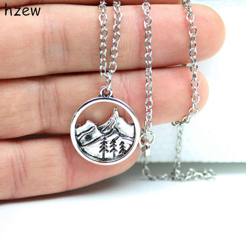 hzew camping jewelry Outdoor Jewelry Gifts Lovely round pendant Pine Tree charm under the mountain necklace