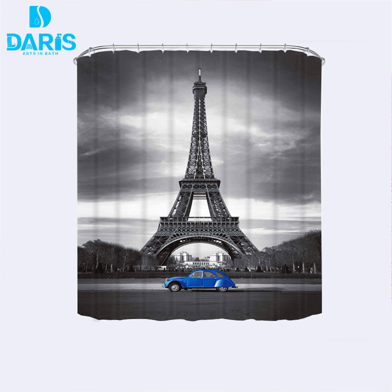 DARIS Classic Eiffel Tower Shower Curtain And Blue Car Cathroom Waterproof  Fabric Shower Curtain With 12pcs Shower Curtain Hooks