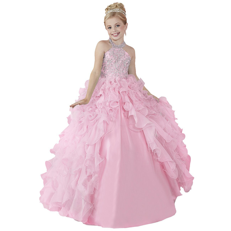 Childrens Kids Girls Elegant Fancy Pleated Satin Pageant Party Dress Ball Gown