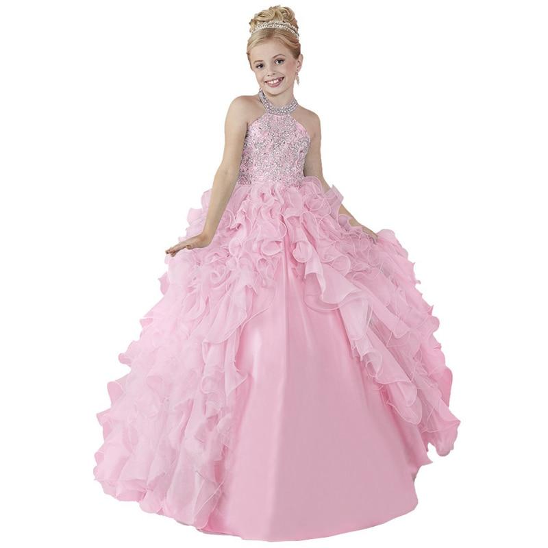 pink little girls dresses beaded long girls pageant dresses prom ball gowns kids children fancy dress for girls floor length kids ball gowns beaded satin little girls dress sleeveless kids prom dress