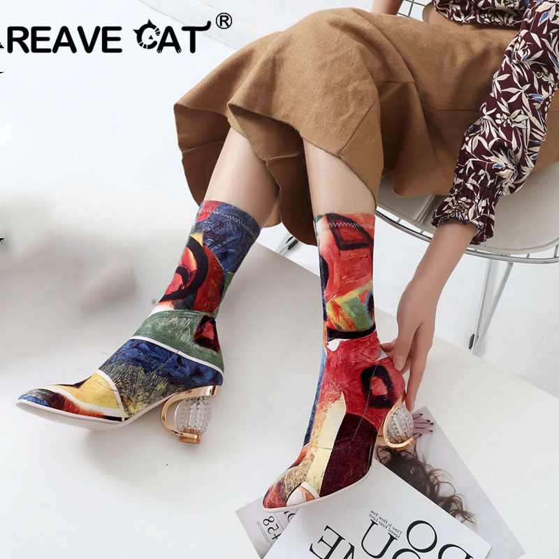 REAVE CAT Winter Shoes women Pointed toe Mis calf Boots Pu Slip on Botas feminino mujer