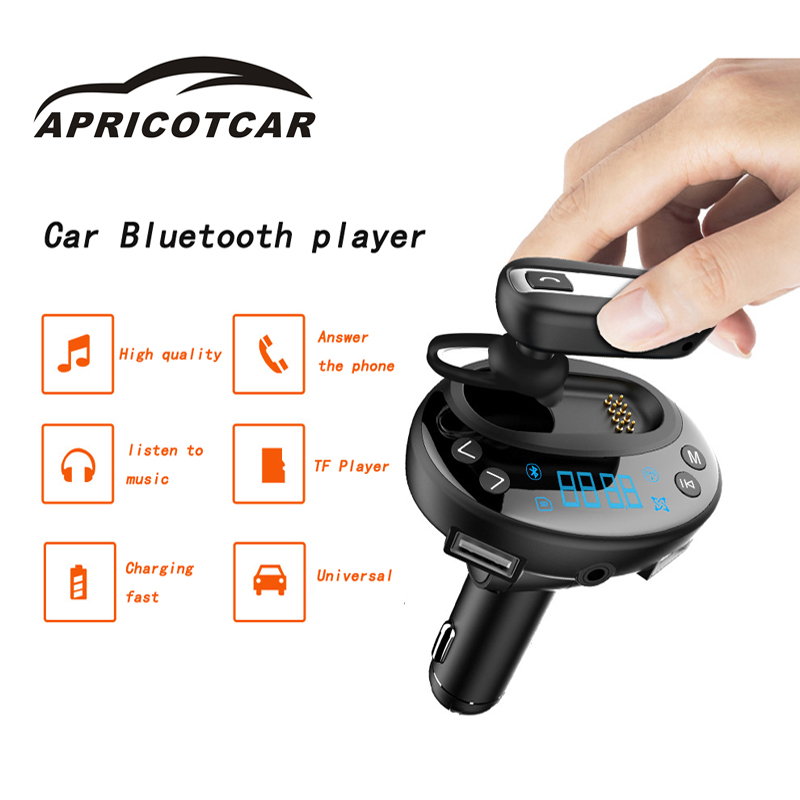 Car Bluetooth Handsfree FM Transmitter Headset Dual USB Quick Charger MP3 High Quality Music Player with Luminous Button V8