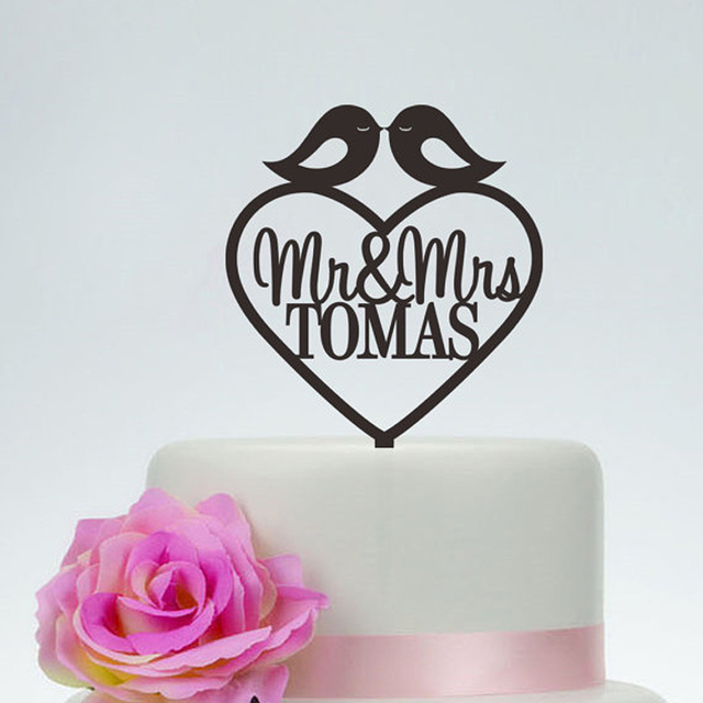 Love Birds Wedding Cake Topper With Surname,Mr and Mrs Acrylic ...