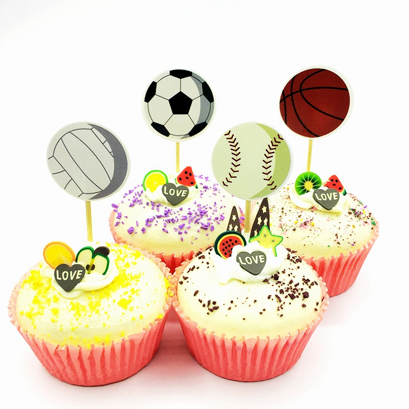 72pcs Sports Games Cake Cupcake Toppers Pick Football Basketball Volleyball Baseball Golf Boy Birthday Party Decoration Supplies