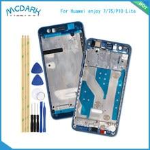 Mcdark frente de la vivienda para Huawei disfrutar de 7/7S para Huawei P10 Lite LCD marco de apoyo de la placa frontal bisel piezas de reparación + herramientas