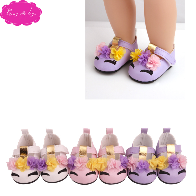 18 Inch Girls Doll Shoes Cute Unicorn Dress Shoes PU American Newborn Loafers Baby Toys Fit 43 Cm Baby Dolls S230