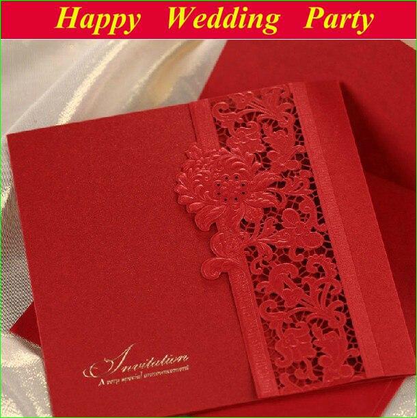 Laser Cut Embossed Wedding Invitations Vintage With Envelope 2014 Red Elegant Party Favor Decoration