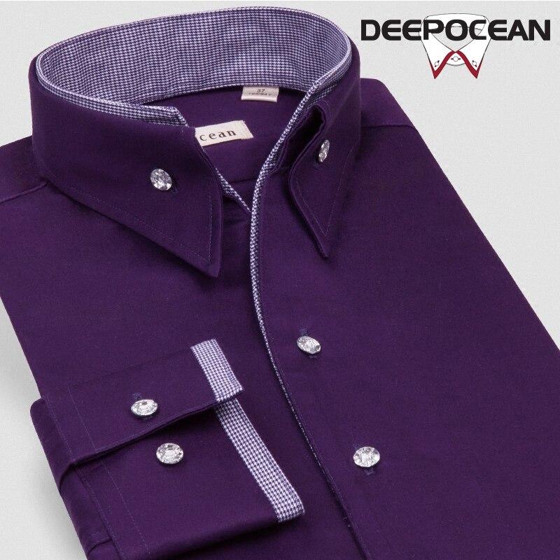 Deepocean Men Shirts Fashion Cotton Shirts Men Clothing Autumn Winter Casual Slim Business Shirt Men Tops