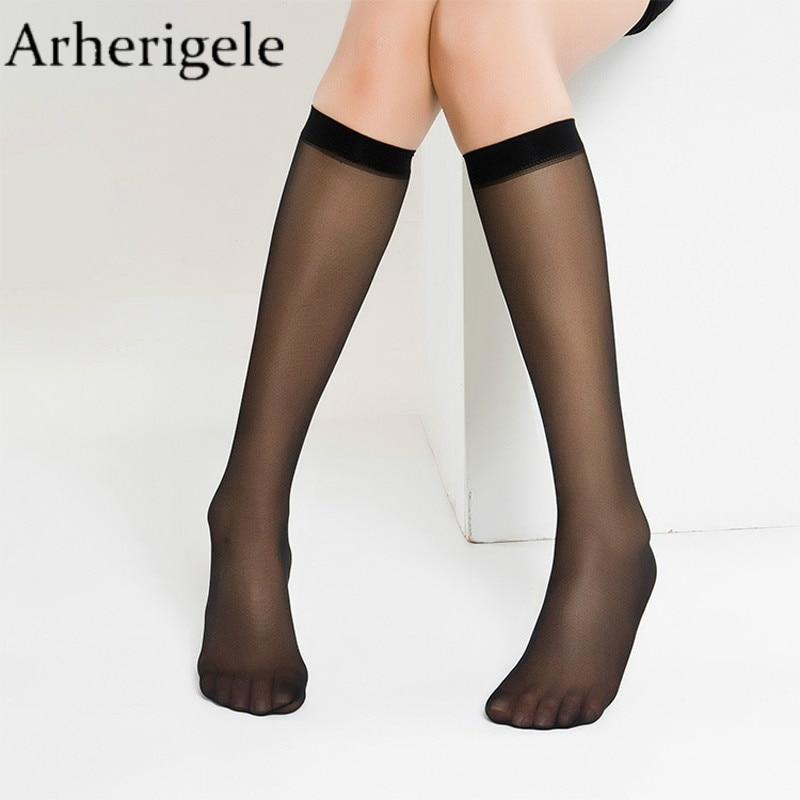 Arherigele 6pcs=3pair Women Sexy Stockings Ultrathin Transparent Sock Solid Nylon Over Knee Socks Summer Crystal Silk Lady Sock