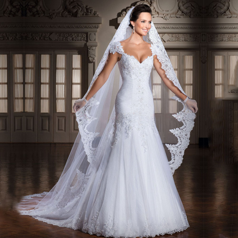 Nieuwe Collectie Real Photo Sweetheart Wit Bride Vestidos De Noiva Plooi Chiffon Mermaid Trouwjurken 2015 WD201