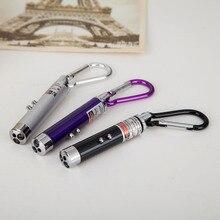 цена на 200pcs/lot3 in 1 Multi Color LED Mini Flashlight Torch with Carabiner Key Chain Red Laser Pointer Flashlight Mini Money Detector