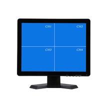 17 인치 쿼드 디스플레이 화면 cctv TFT LED 모니터, 금속 쉘 및 4 bnc/vga, pc 및 멀티미디어 및 도니 터 디스플레이 및 현미경 용