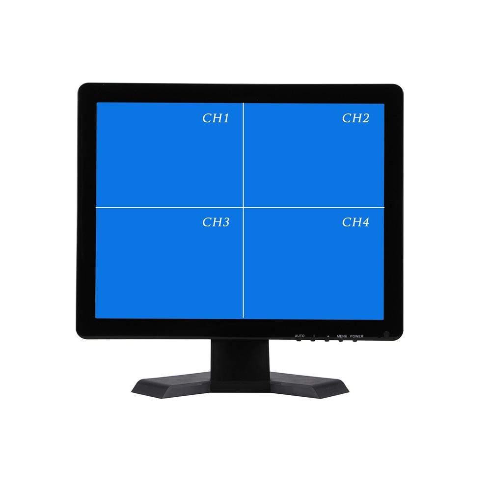 17インチquadディスプレイ画面cctv tft ledモニター付き金属シェル& 4 bnc/vga用pc &マルチメディア& donitorディスプレイ&顕微鏡cctv monitorinch vga monitormonitor bnc -