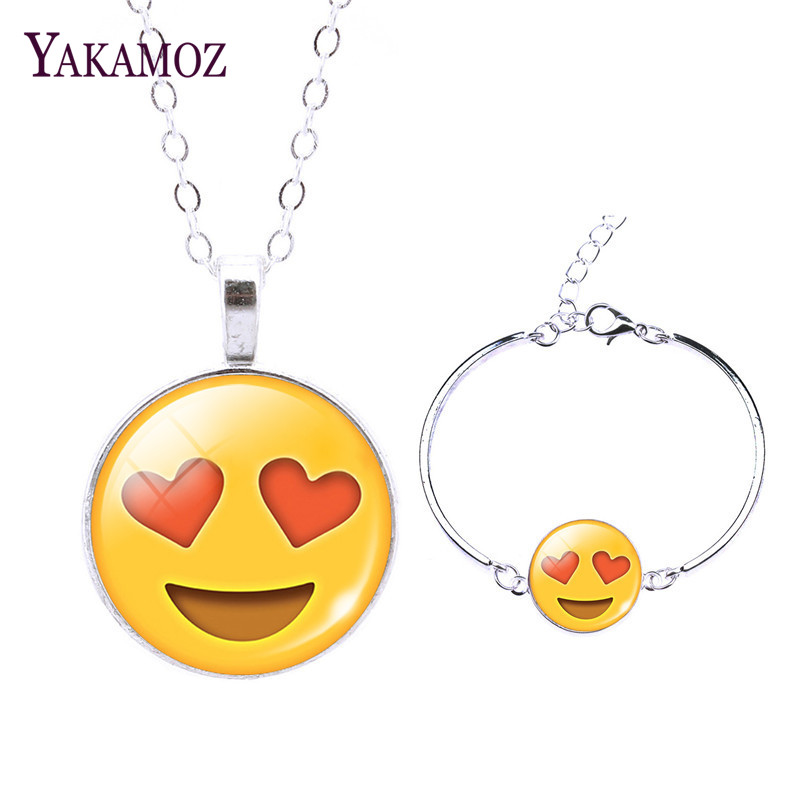 2018 Cute Emoji Jewelry Sets For Women Fashion Women Charm Bracelet & Pendant Necklace Fine Jewelry Choker Necklace