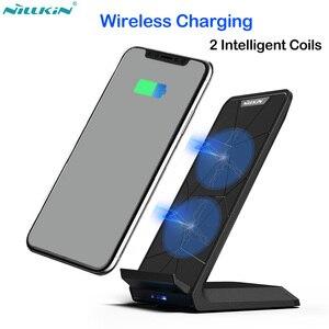 Image 1 - Nillkin 10W Qi Snelle Draadloze Oplader voor iPhone X XR XS Max Opladen Telefoon Houder voor Samsung Note 9 8 S8 S9 S10 Plus Xiaomi Mi9
