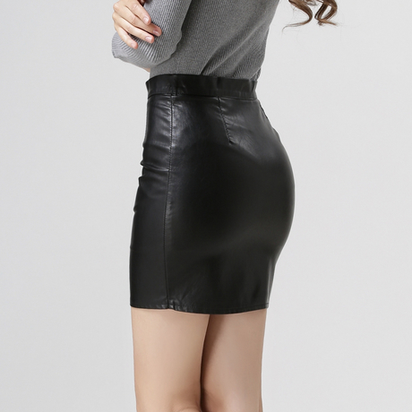 Gray Brown Black Leather Pencil Skirt Womens Sexy Mini Skirt Slim ...