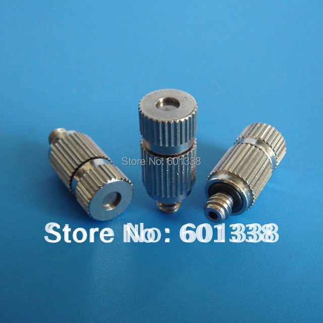 Low pressure misting nozzle, fine mist, brass plated nickel, anti drip, SS insert, Free Shipping