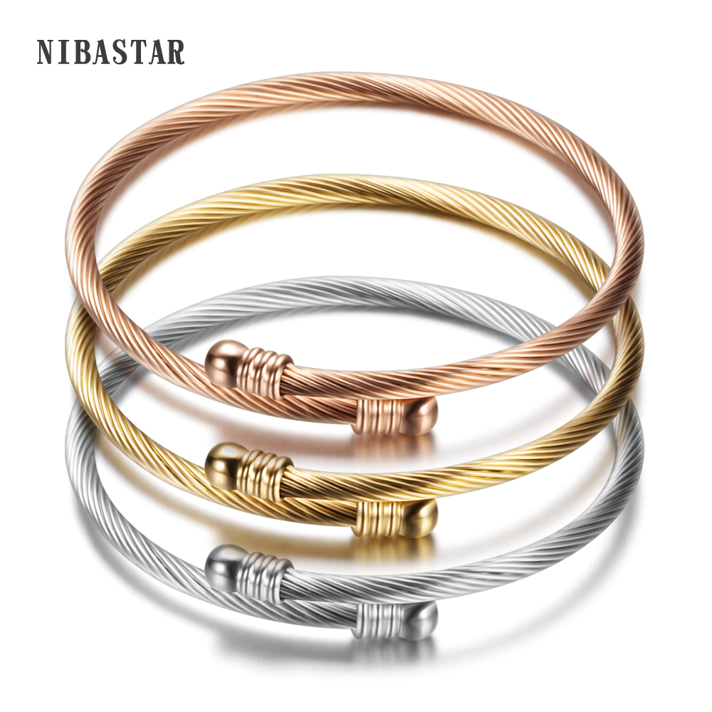 3 Colors lockable Braclets Bangles For Women Brand Jewelry 316L Stainless Steel Bracelets Bangles
