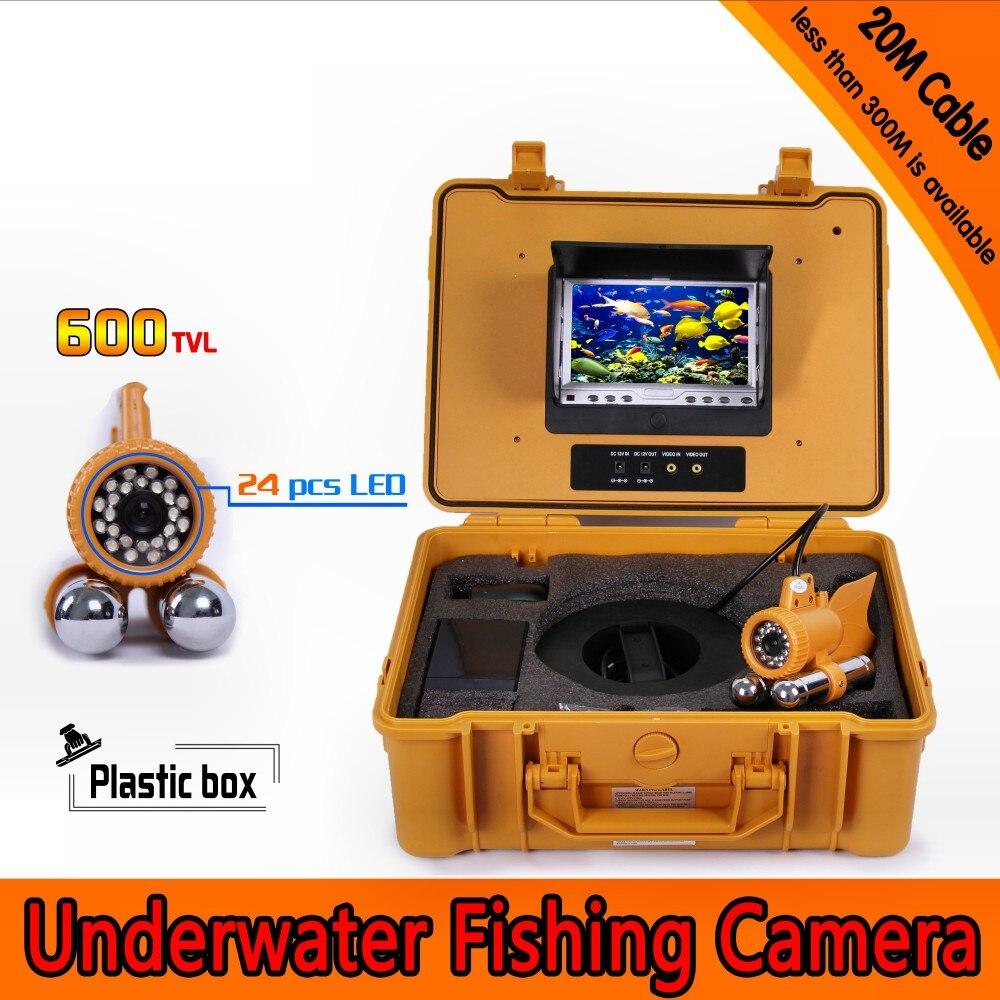 20 meter Tiefe Unterwasser Angeln Kamera Kit mit Dual Blei Bar & 7 Inch Farbe TFT LCD Monitor & Gelb harte Kunststoff Fall-in Überwachungskameras aus Sicherheit und Schutz bei title=
